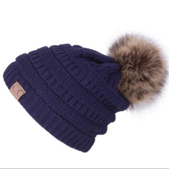 fdd2c3ee8 C.C Navy Cable Knit Beanie Faux Fur Pom Pom Boutique